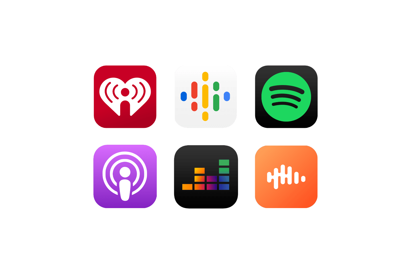 A series of logos showcasing some of the top podcast listening platforms including, iHeart Podcast Network, Apple Podcasts, Spotify, Google Podcasts, and more which Spreaker can distribute your podcast to in one click.