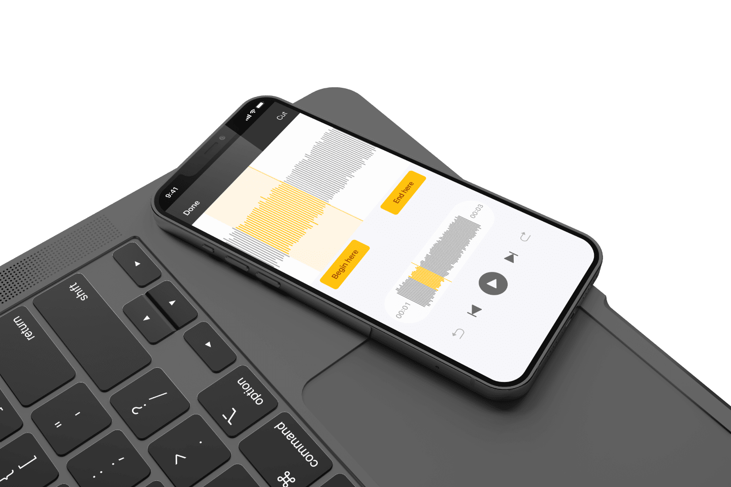 A digital mobile screen showing the Spreaker Studio App and how it has everything you need to record and publish your podcast from everywhere.