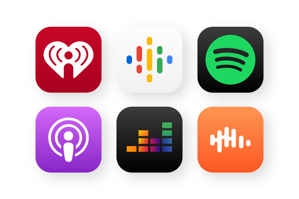 App artwork for some of the most popular distribution platforms available with Spreaker.